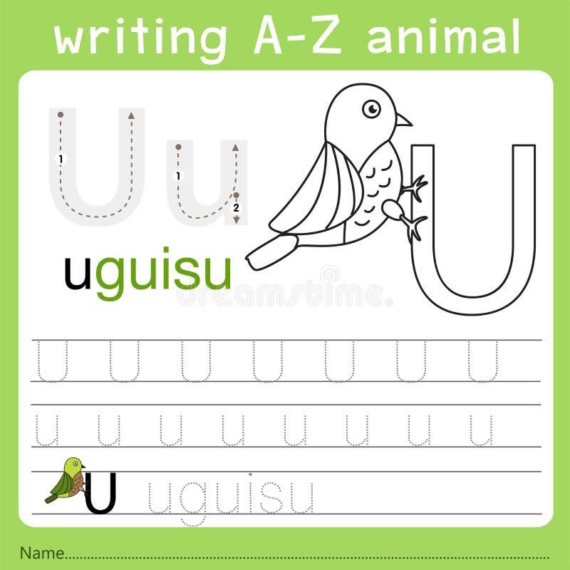 Illustrator of writing a-z animal u. Isolated for education stock illustration