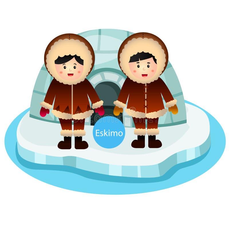 Illustratore del vettore eschimese della ragazza e del ragazzo due isolato su fondo bianco illustrazione vettoriale