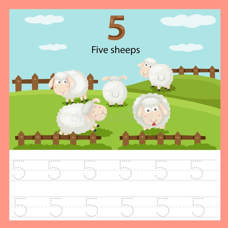 Illustratore delle pecore del foglio di lavoro cinque illustrazione di stock