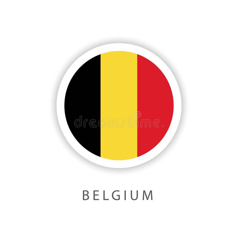 Illustratore di progettazione del modello di vettore della bandiera del bottone del Belgio illustrazione vettoriale