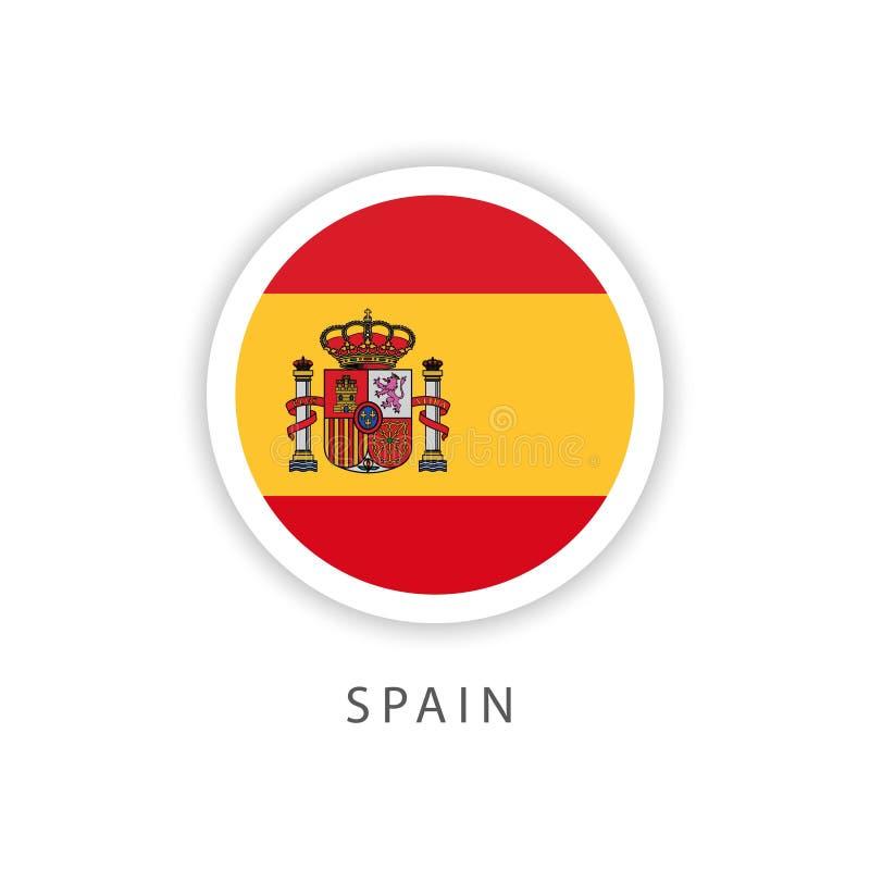 Illustratore di progettazione del modello di vettore della bandiera del bottone del cerchio della Spagna royalty illustrazione gratis