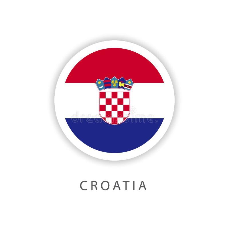 Illustratore di progettazione del modello di vettore della bandiera del bottone della Croazia illustrazione di stock