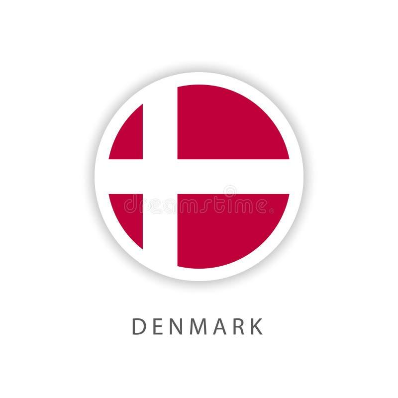 Illustratore di progettazione del modello di vettore della bandiera del bottone della Danimarca illustrazione di stock