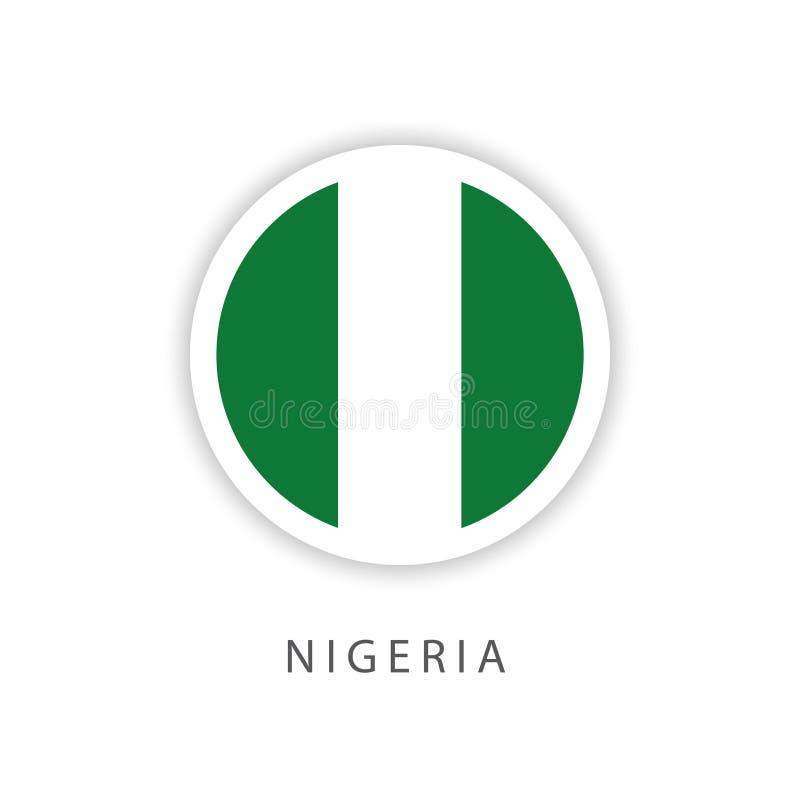 Illustratore di progettazione del modello di vettore della bandiera del bottone della Nigeria illustrazione di stock