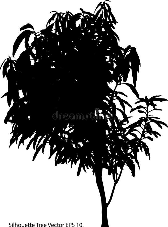 Illustratore ENV 10 di vettore dell'albero della siluetta fotografia stock libera da diritti