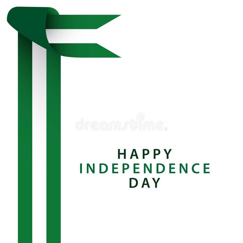 Illustratore felice di progettazione del modello di vettore di festa dell'indipendenza della Nigeria royalty illustrazione gratis