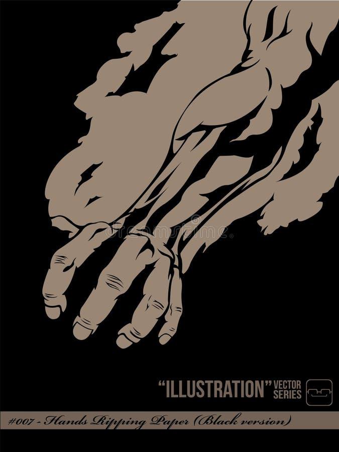 Illustrazione #007 - Mano che strappa documento (vers neri illustrazione di stock