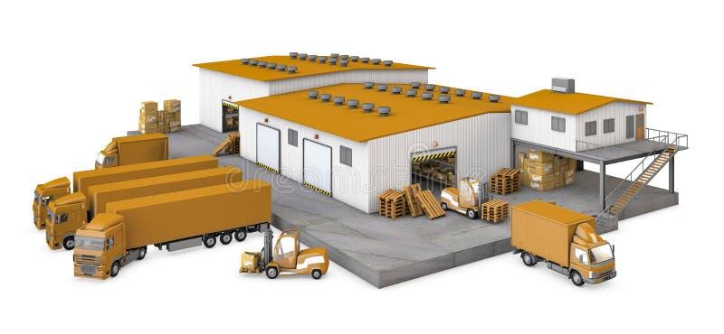 illustrazione 3d del magazzino dell'infrastruttura con la t royalty illustrazione gratis