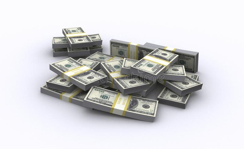 illustrazione 3d delle banconote del dollaro fotografia stock libera da diritti