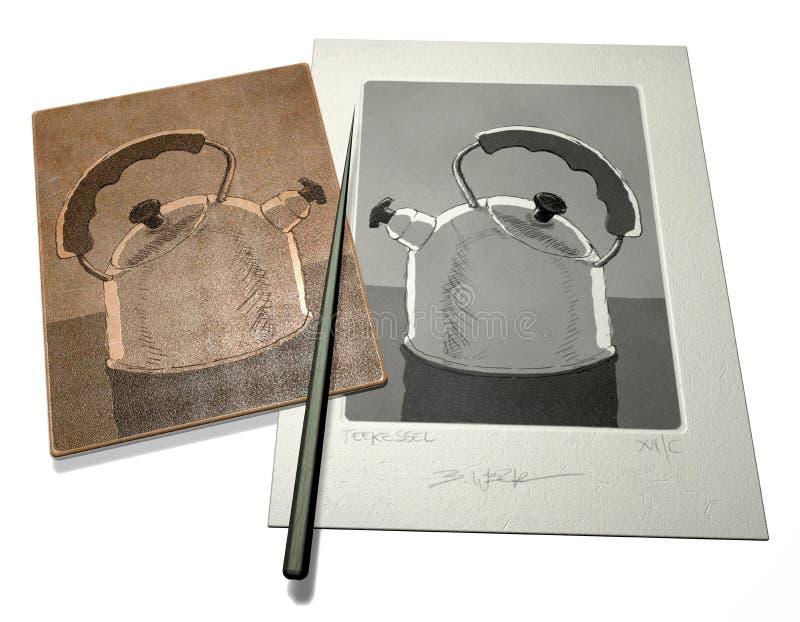 Illustrazione acquaforte fotografia stock