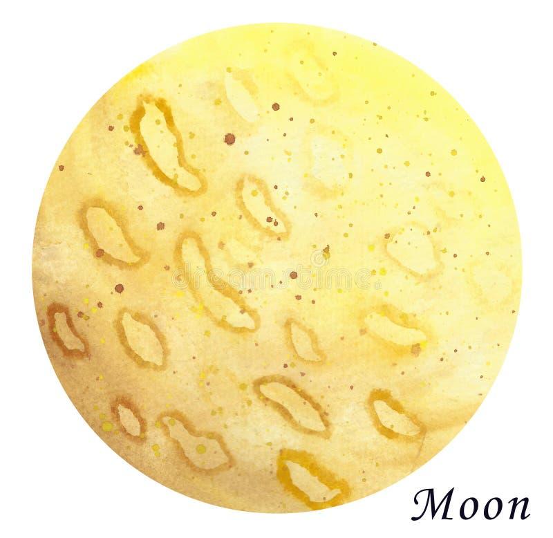 Illustrazione acquerella del pianeta della luna Disegnato a mano su backgr bianco royalty illustrazione gratis