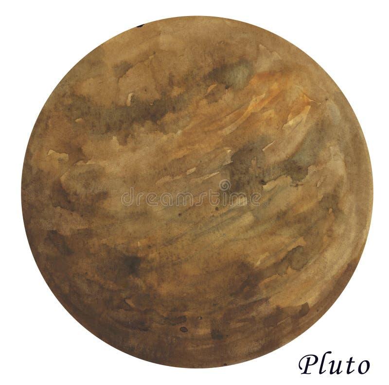 Illustrazione acquerella del pianeta del Plutone Disegnato a mano su backg bianco illustrazione di stock