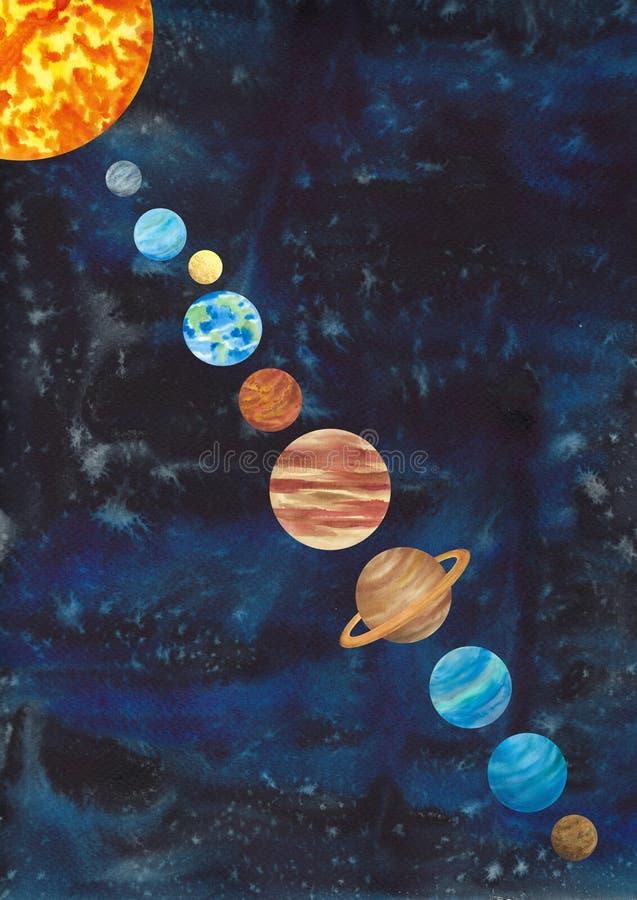 Illustrazione acquerella del sistema solare Sun, terra, luna, Marte, N illustrazione vettoriale