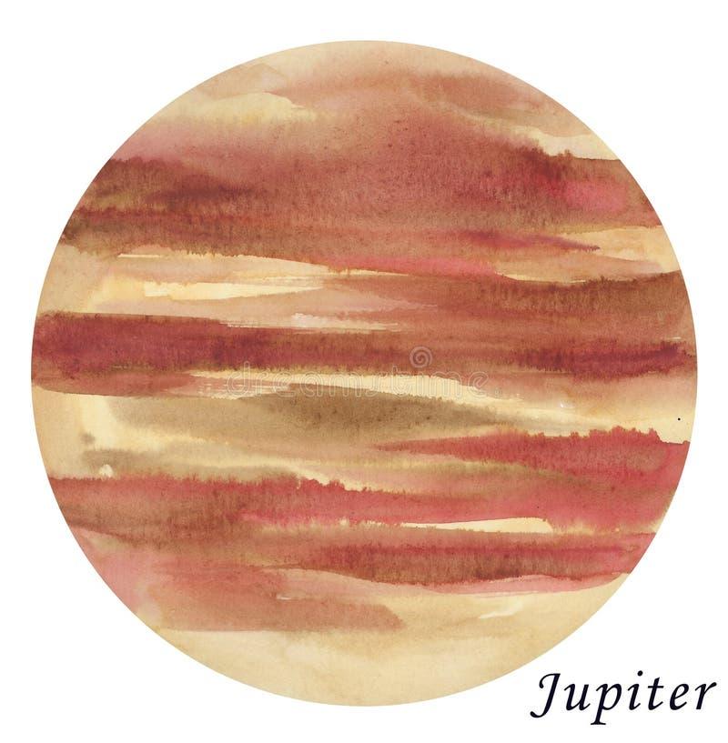 Illustrazione acquerella di Jupiter Planet Disegnato a mano sul BAC bianco illustrazione di stock