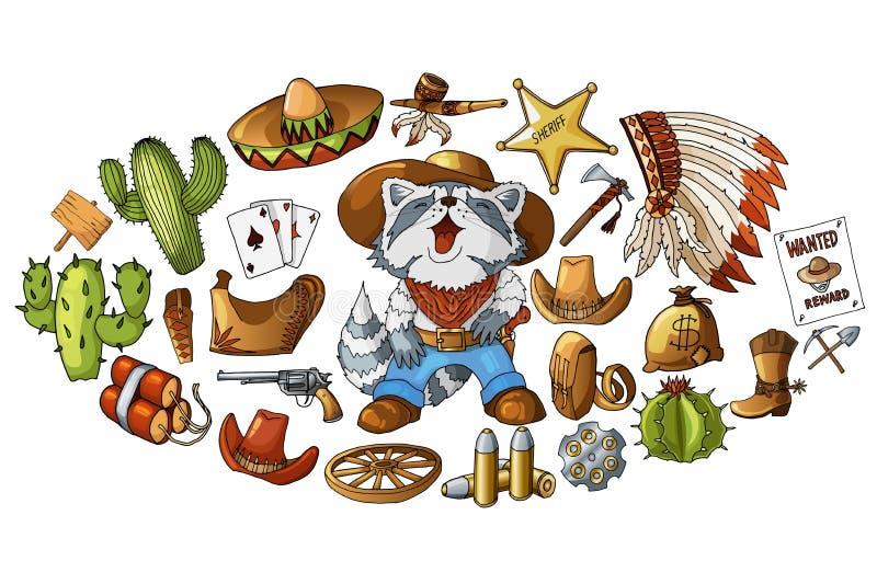 Illustrazione ad ovest selvaggia disegnata a mano dell'insieme degli autoadesivi degli elementi del cowboy di vettore royalty illustrazione gratis