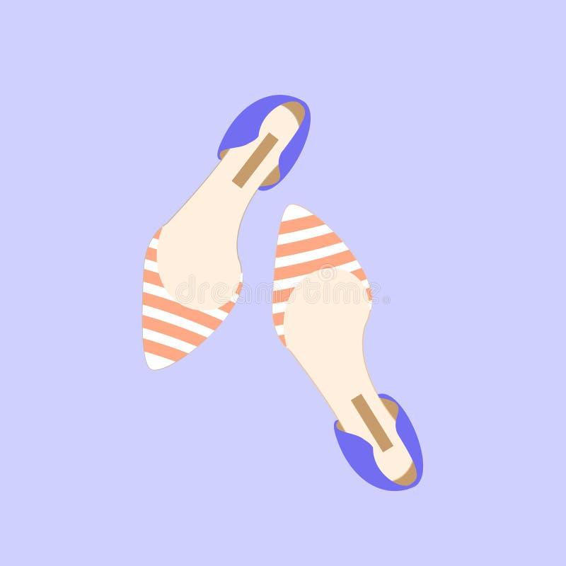 Illustrazione adorabile di vettore di colore della primavera della ragazza della donna di stile di progettazione delle scarpe di  immagini stock