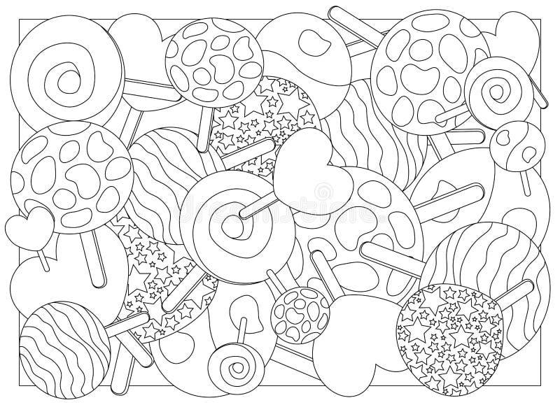 Illustrazione adulta della caramella della lecca-lecca della pagina di coloritura royalty illustrazione gratis
