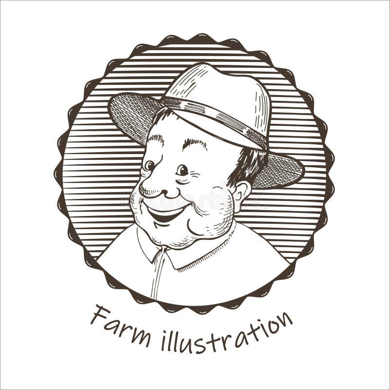 Illustrazione agricola Ritratto di un uomo in un cappello illustrazione di stock