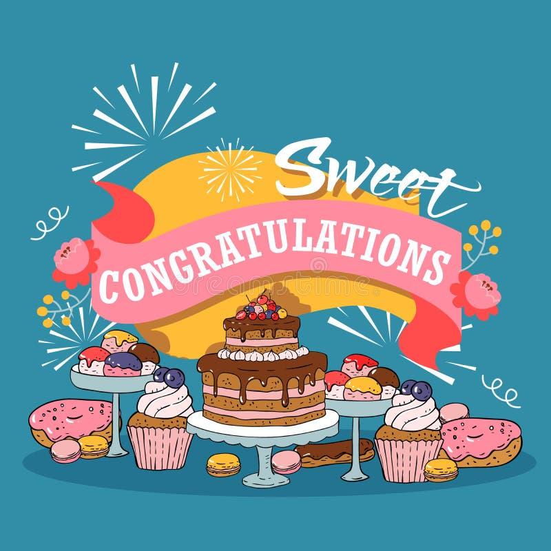 Illustrazione al forno di vettore del fumetto dei dolci Manifesto con frutta, bacche e dolci di cioccolato, bigné e poundcakes co illustrazione di stock