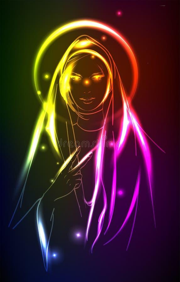 Illustrazione al neon con una suora di modo Religione e modo astratti illustrazione vettoriale