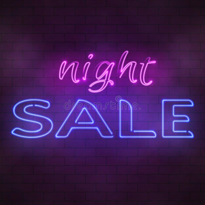 Illustrazione al neon d'ardore del segno di vendita di notte illustrazione di stock