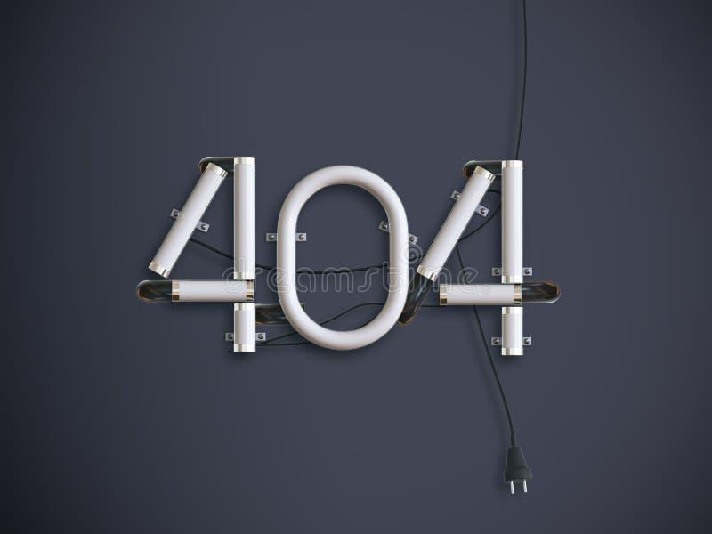 404 illustrazione al neon del testo 3d della pagina di errore con lo spazio della copia royalty illustrazione gratis