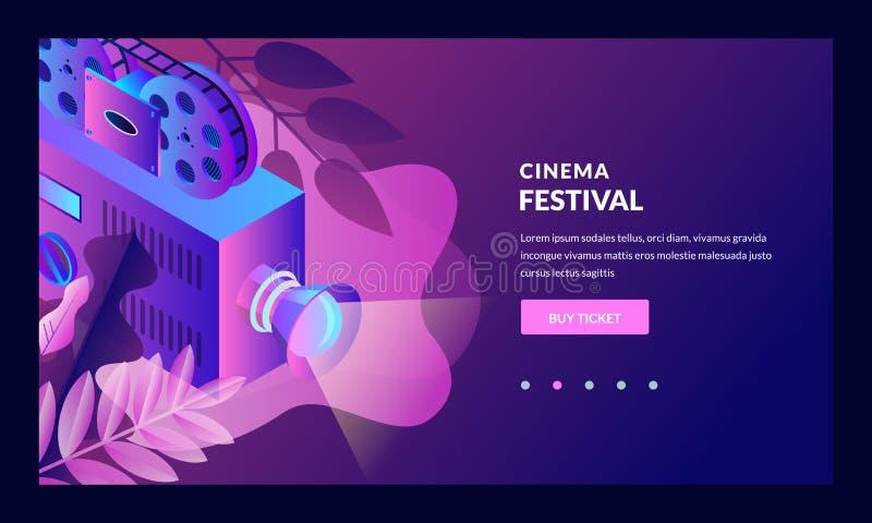 Illustrazione al neon di pendenza di notte del cinema Elementi isometrici di progettazione di vettore 3d Insegna di festival cine illustrazione di stock
