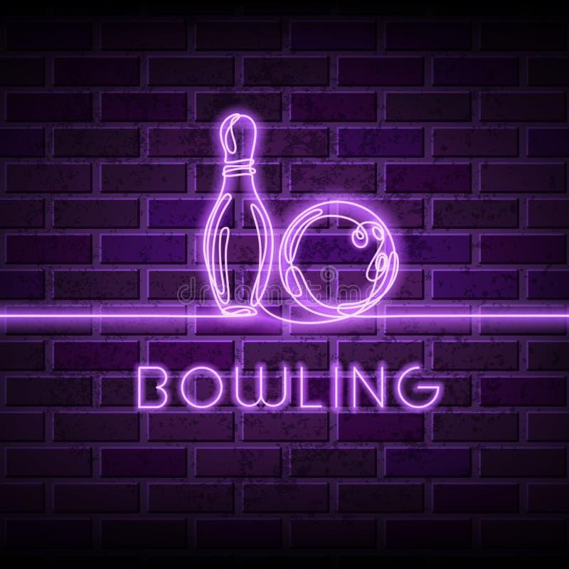 Illustrazione al neon di vettore di bowling Disegno a tratteggio continuo d'ardore di palla da bowling, perno sul fondo porpora d illustrazione vettoriale