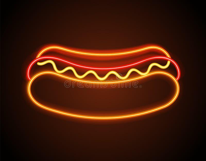 Illustrazione al neon di vettore del manifesto dell'insegna del hot dog illustrazione vettoriale