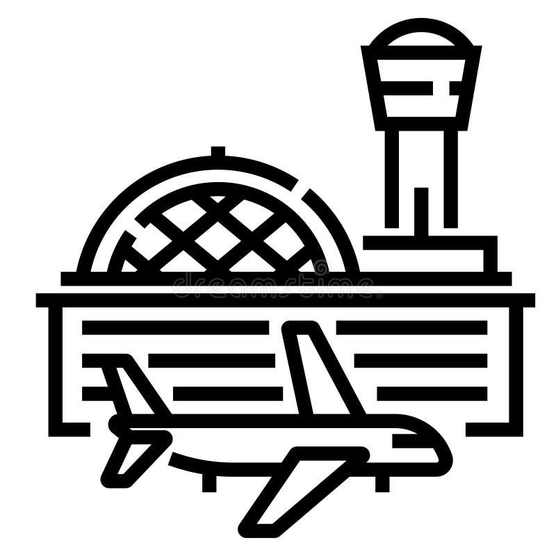 Illustrazione al tratto dell'aeroporto illustrazione vettoriale