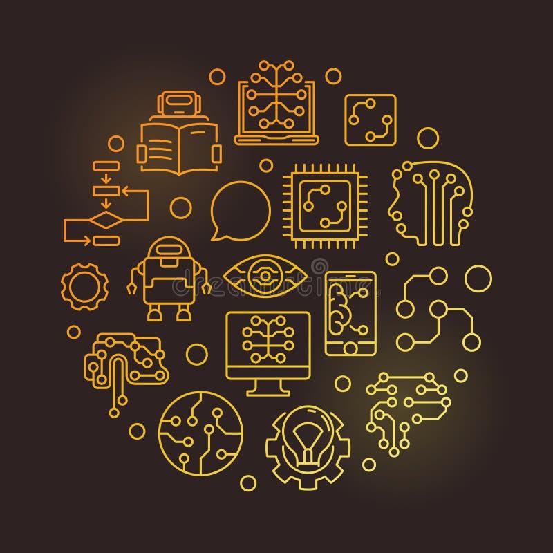 Illustrazione al tratto dorato di vettore circolare di apprendimento automatico illustrazione di stock