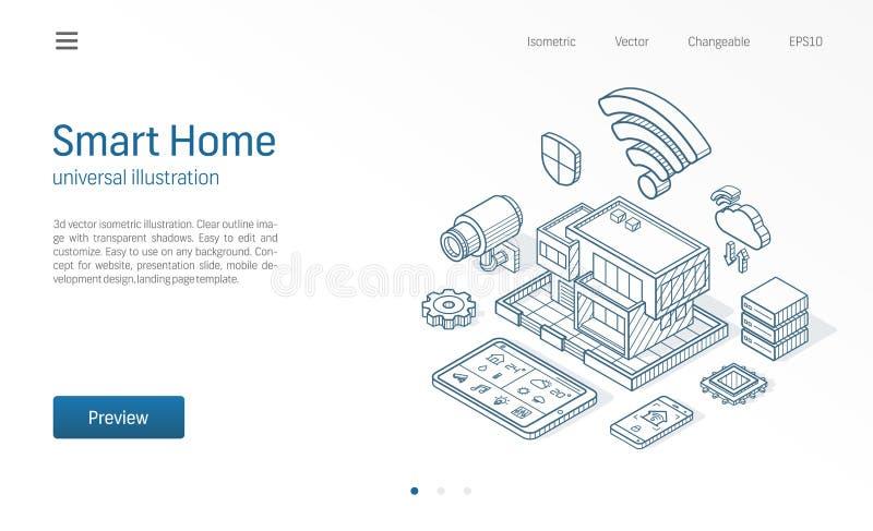 Illustrazione al tratto isometrico domestico astuto Casa di tecnologia, rete del cctv di controllo, affare moderno della costruzi illustrazione di stock