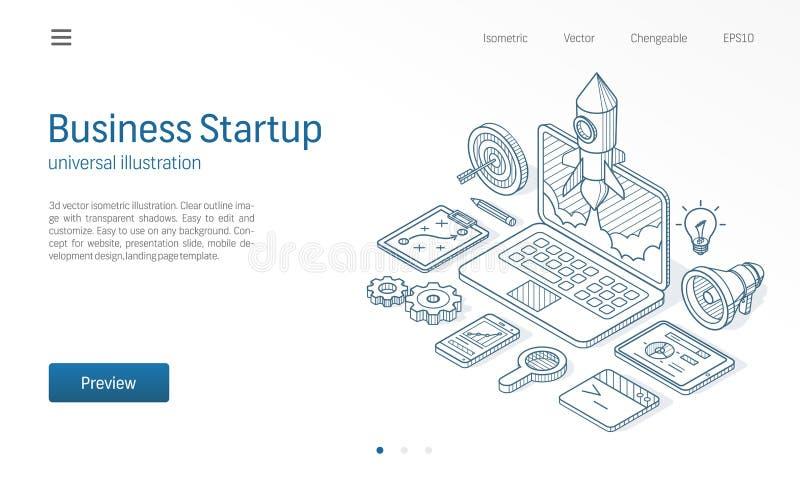Illustrazione al tratto isometrico moderno startup di progetto di affari Icona di schizzo disegnata lancio del razzo del computer illustrazione vettoriale