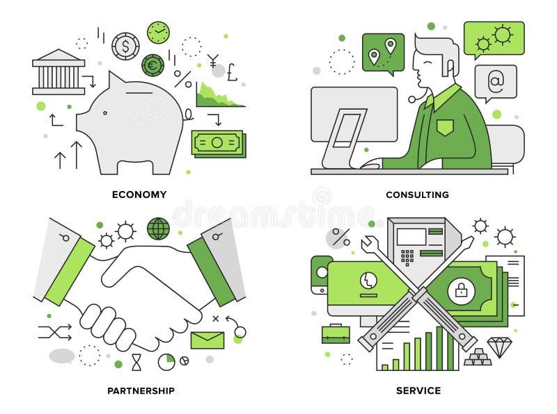 Illustrazione al tratto piano di servizi bancari illustrazione di stock