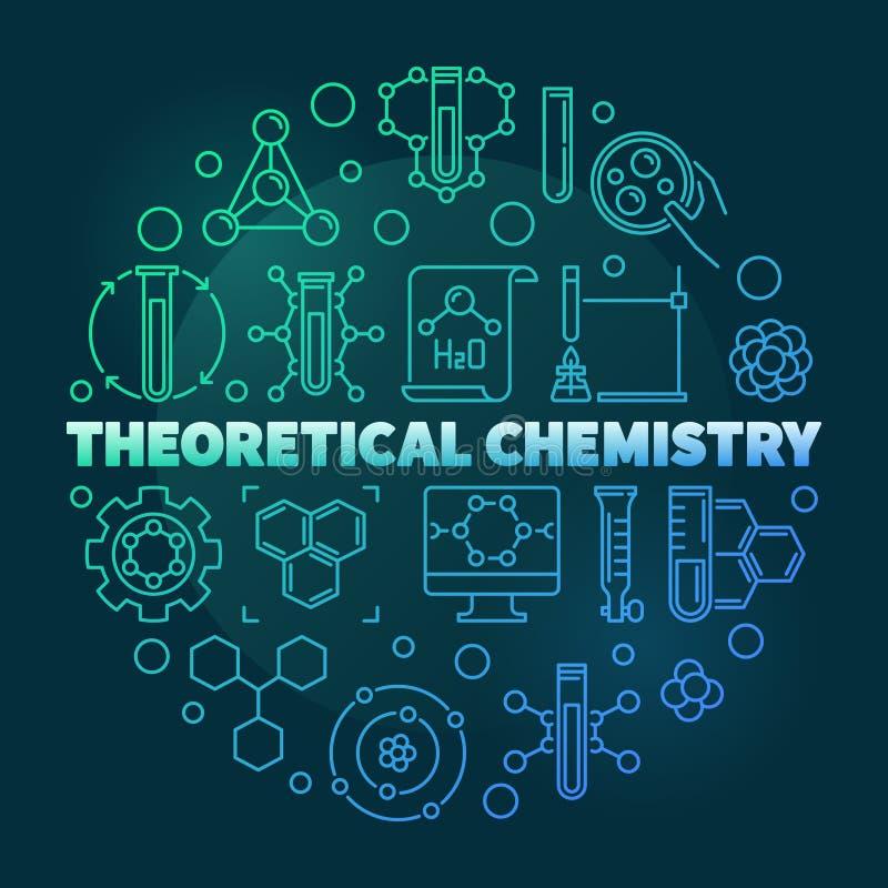 Illustrazione al tratto rotondo colorato chimica teorica di vettore royalty illustrazione gratis