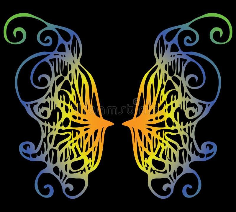 Illustrazione Ali iridescenti di una farfalla su un backgro nero royalty illustrazione gratis
