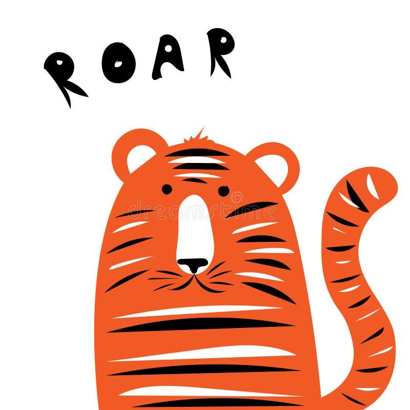 Illustrazione allegra e maligna di vettore del cucciolo di tigre per una cartolina immagini stock