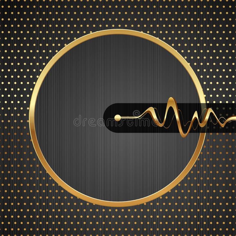 Illustrazione alta tecnologia astratta con il blocco per grafici dorato illustrazione di stock