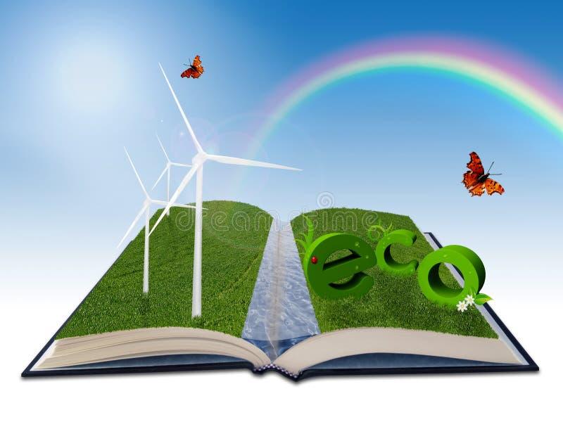 Illustrazione ambientale per energia rinnovabile illustrazione di stock