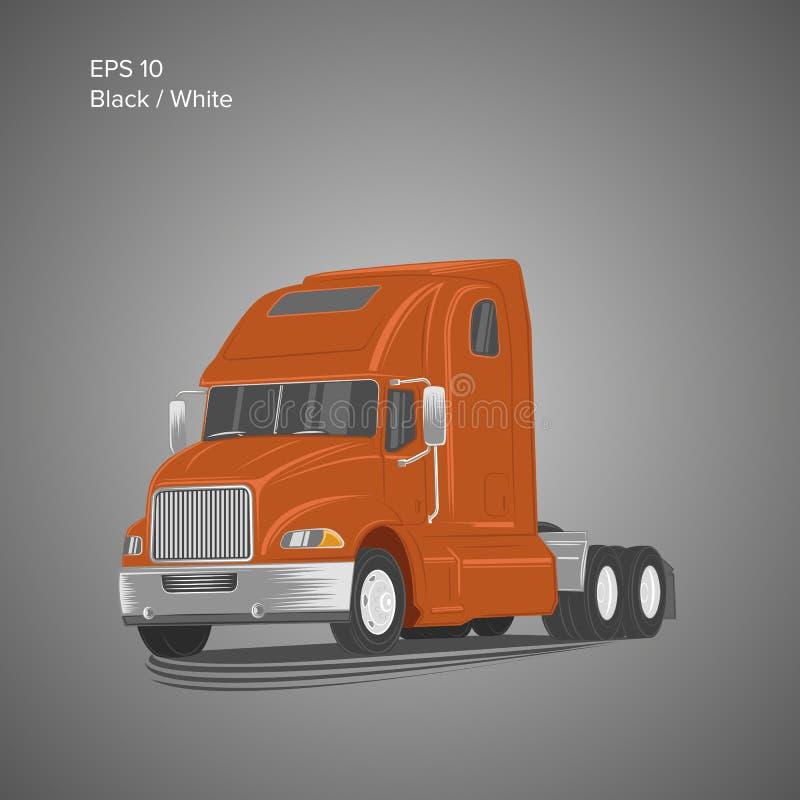 Illustrazione americana moderna di vettore del camion Immagine pesante di trasporto illustrazione di stock