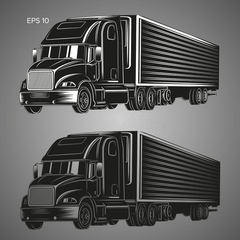 Illustrazione americana moderna di vettore del camion Immagine pesante di trasporto illustrazione vettoriale