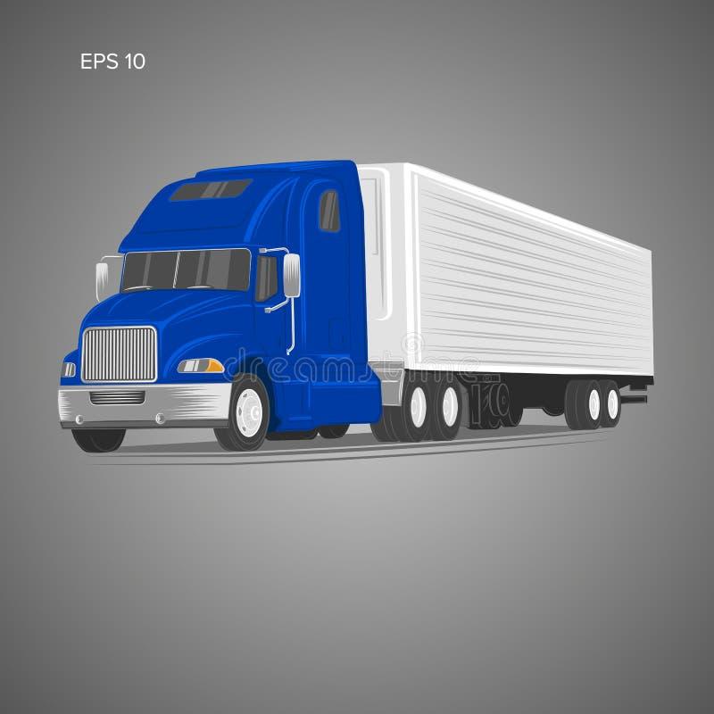 Illustrazione americana moderna di vettore del camion Immagine pesante di trasporto royalty illustrazione gratis