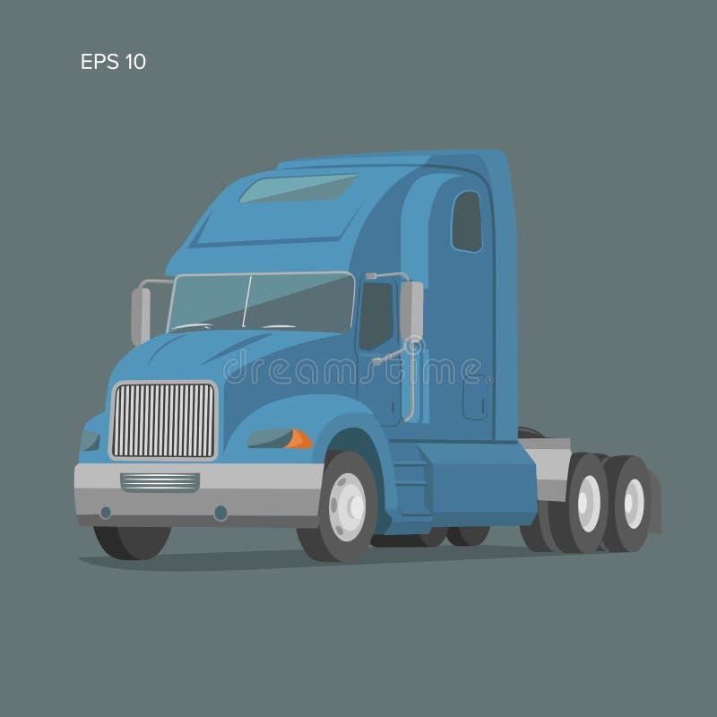 Illustrazione americana moderna di vettore del camion Progettazione piana dell'immagine pesante di trasporto illustrazione di stock