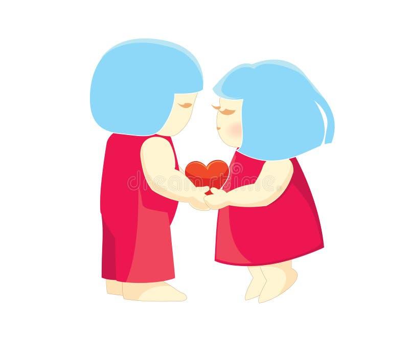 Illustrazione amorosa sveglia delle coppie immagini stock