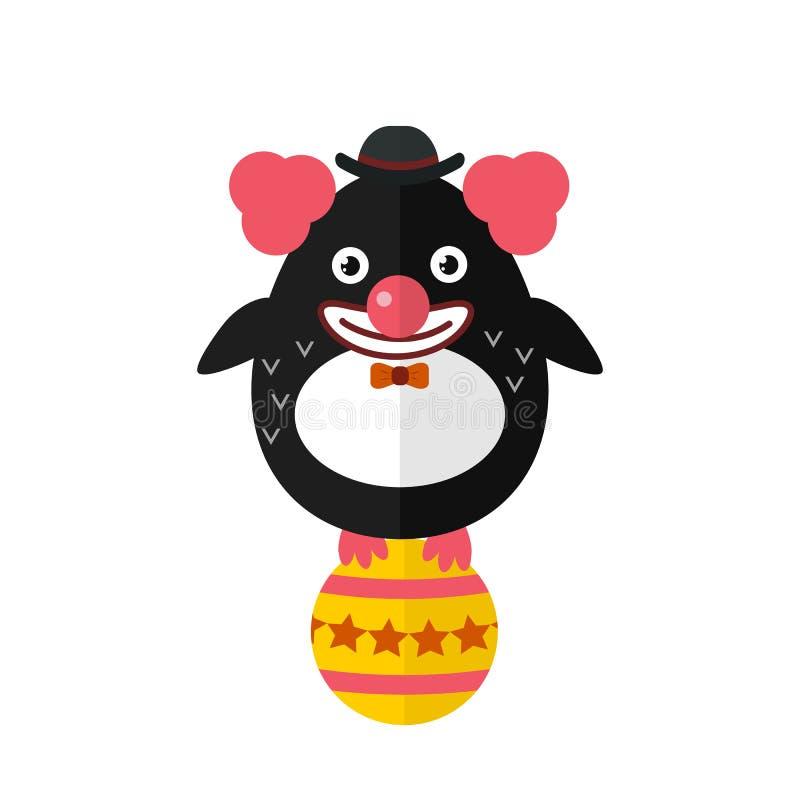 Illustrazione animale del carattere di vettore del pagliaccio del pinguino illustrazione di stock