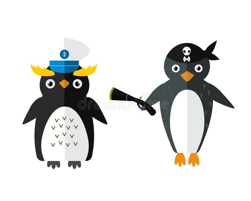 Illustrazione animale del carattere di vettore del pirata del marinaio del pinguino royalty illustrazione gratis