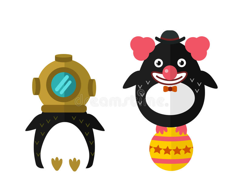 Illustrazione animale del carattere di vettore dell'autorespiratore del pinguino illustrazione di stock
