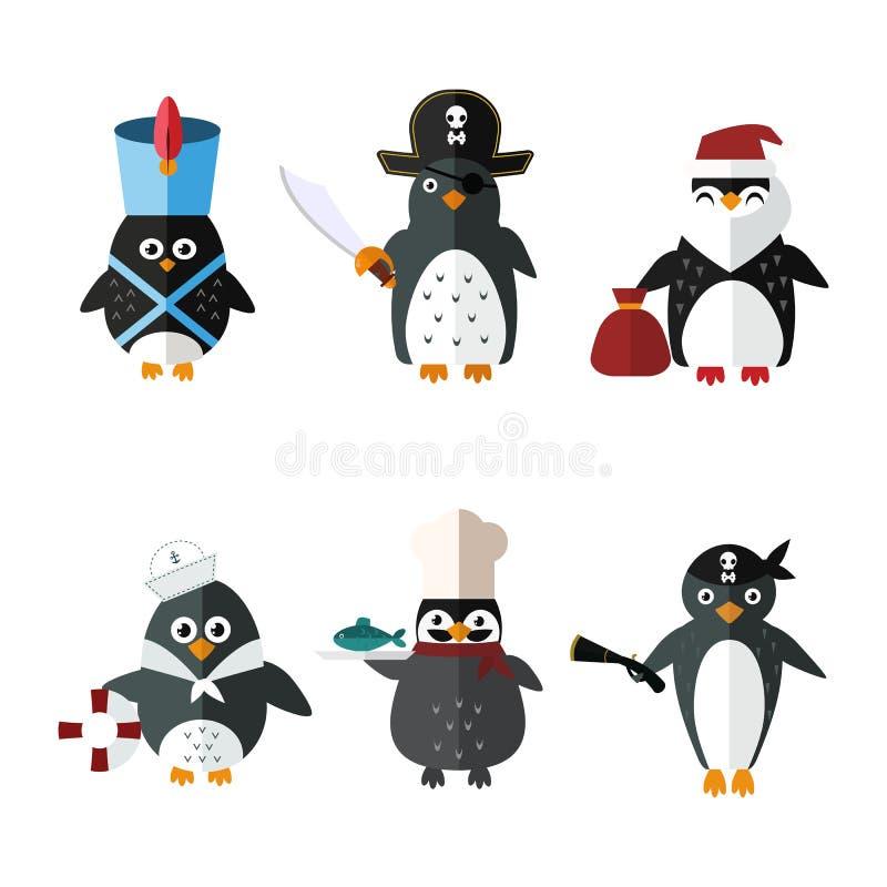 Illustrazione animale del carattere di vettore di Santa del marinaio del pinguino illustrazione vettoriale