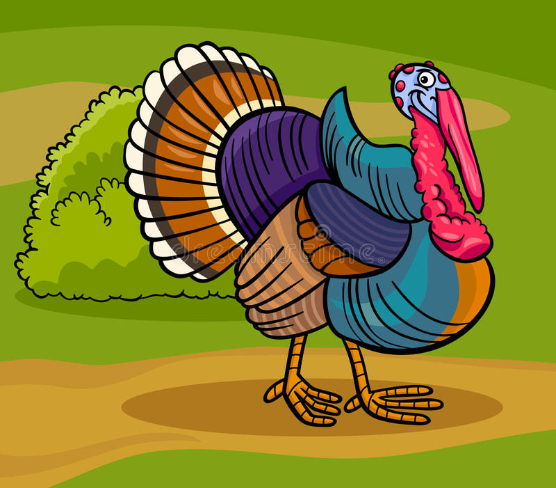 Illustrazione animale del fumetto dell'uccello dell'azienda agricola della Turchia