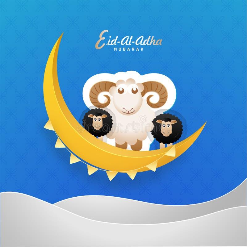 Illustrazione animale delle pecore di stile dell'autoadesivo sulla luna crescente dorata illustrazione vettoriale